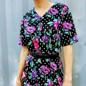 VTG Black White Pink Purple Floral Muumuu Dress